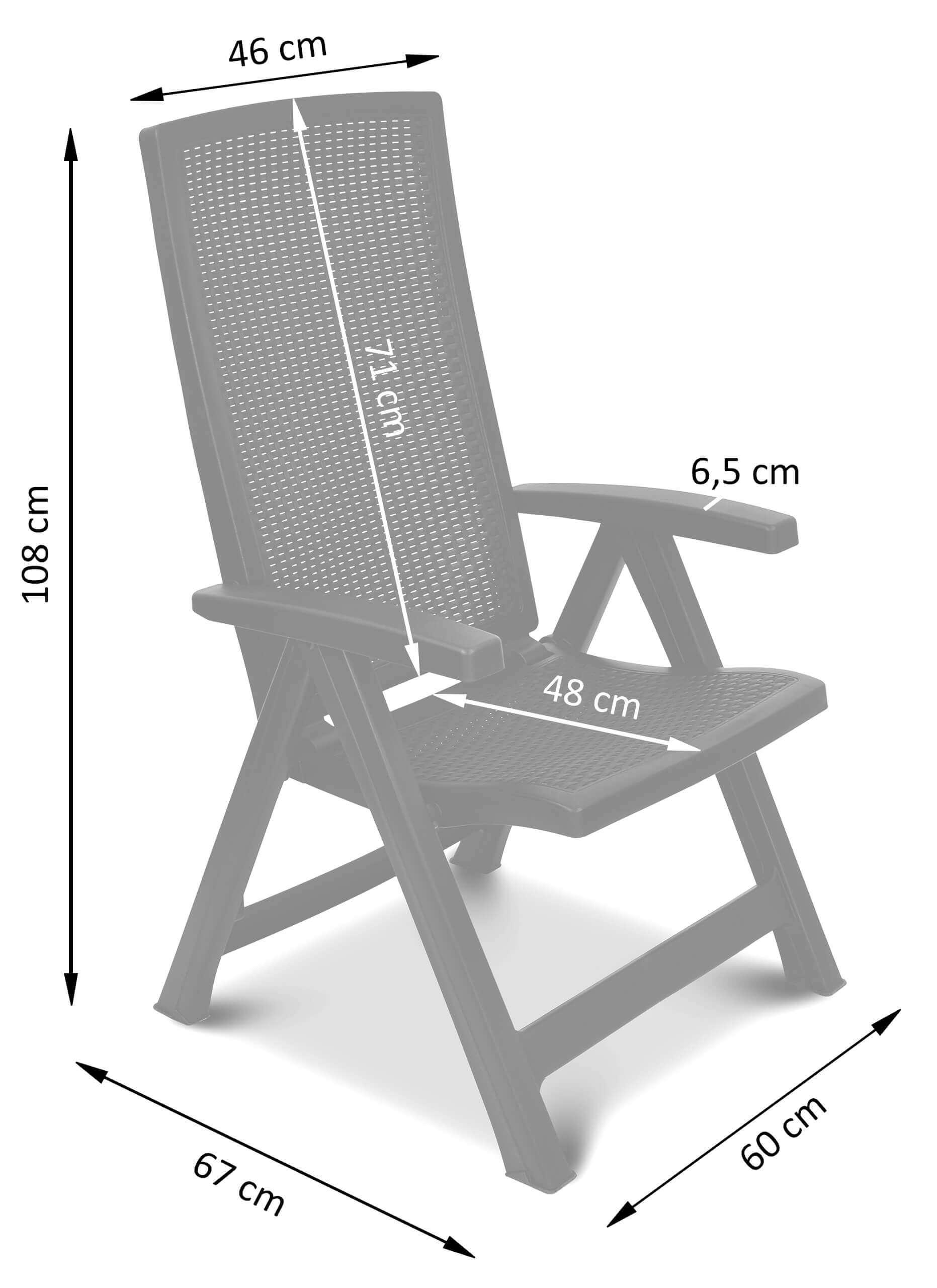 Wymiary regulowanego krzesła Montreal