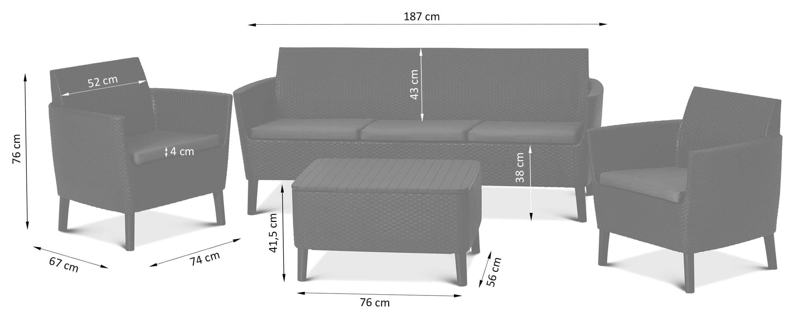 Wymiary mebli tarasowych Salemo z sofą 3 osobową