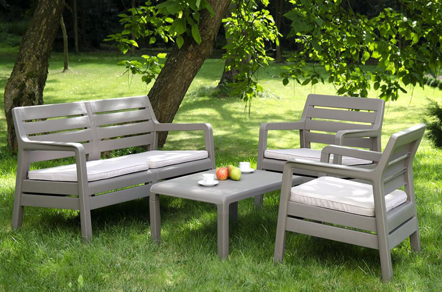zestaw mebli ogrodowych z tworzyw sztucznych DELANO