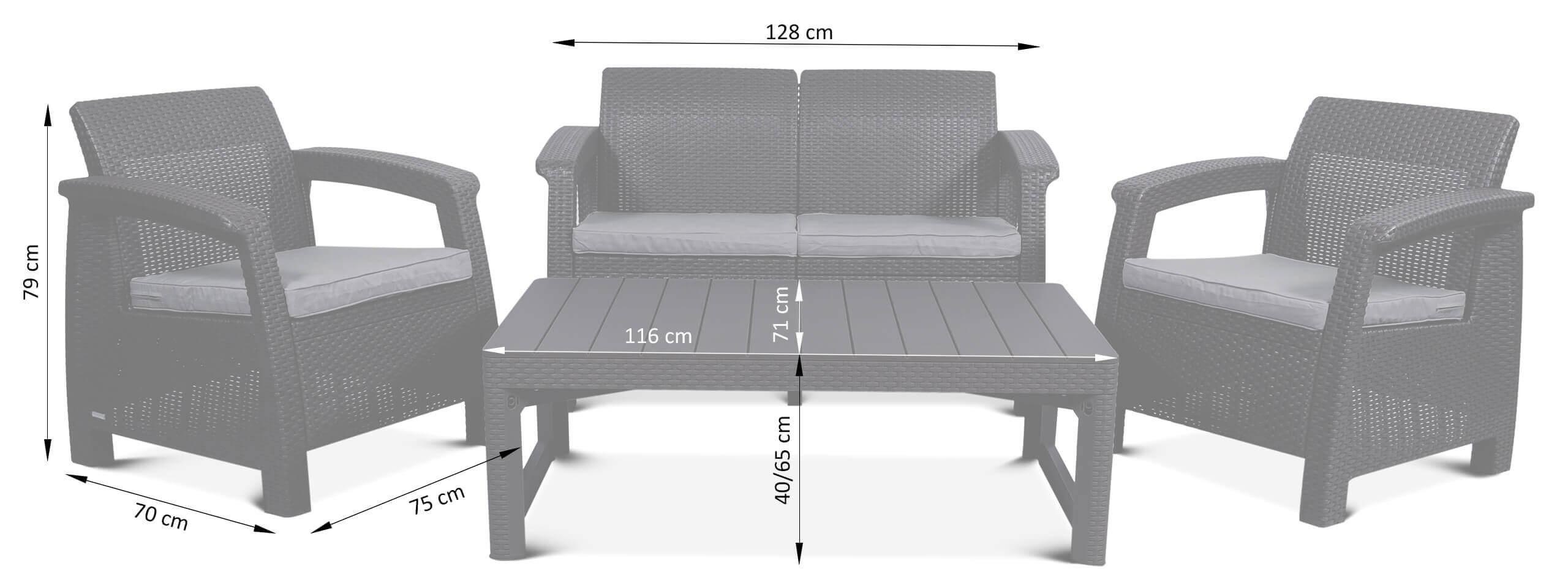 Wymiary zestawu mebli wypoczynkowych Corfu set ze stołem Lyon