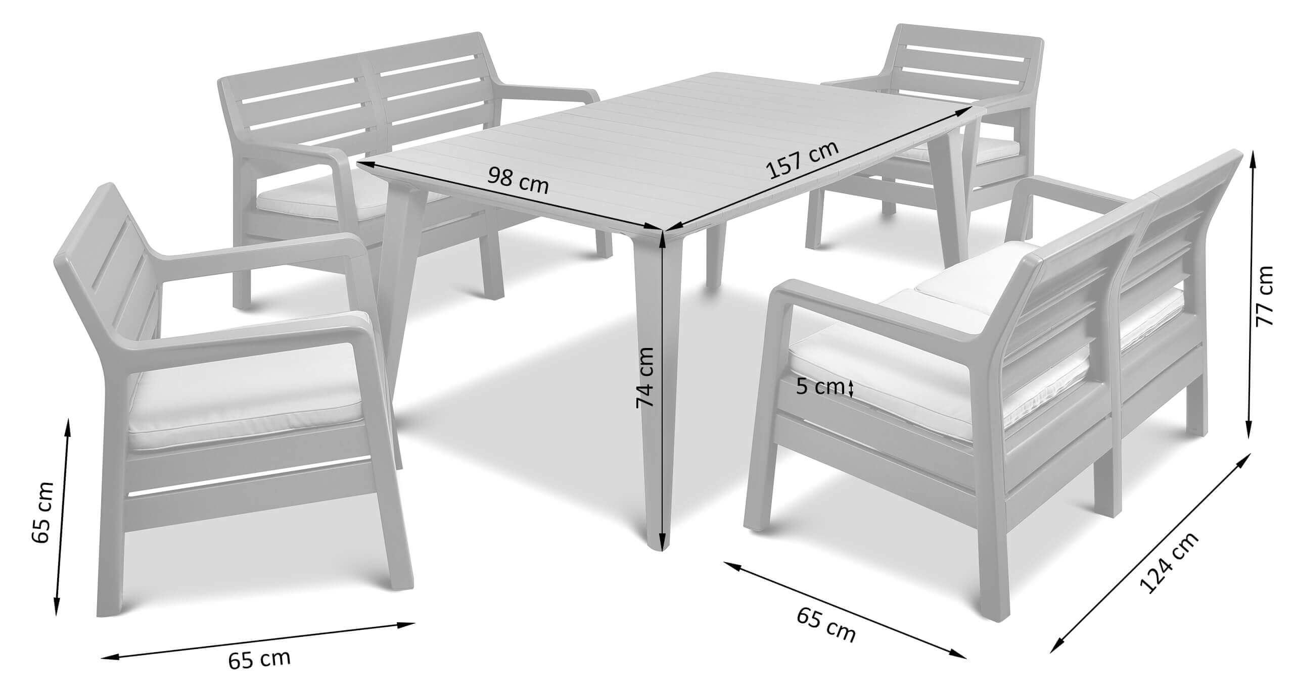 Wymiary zestawu mebli obiadowych Delima