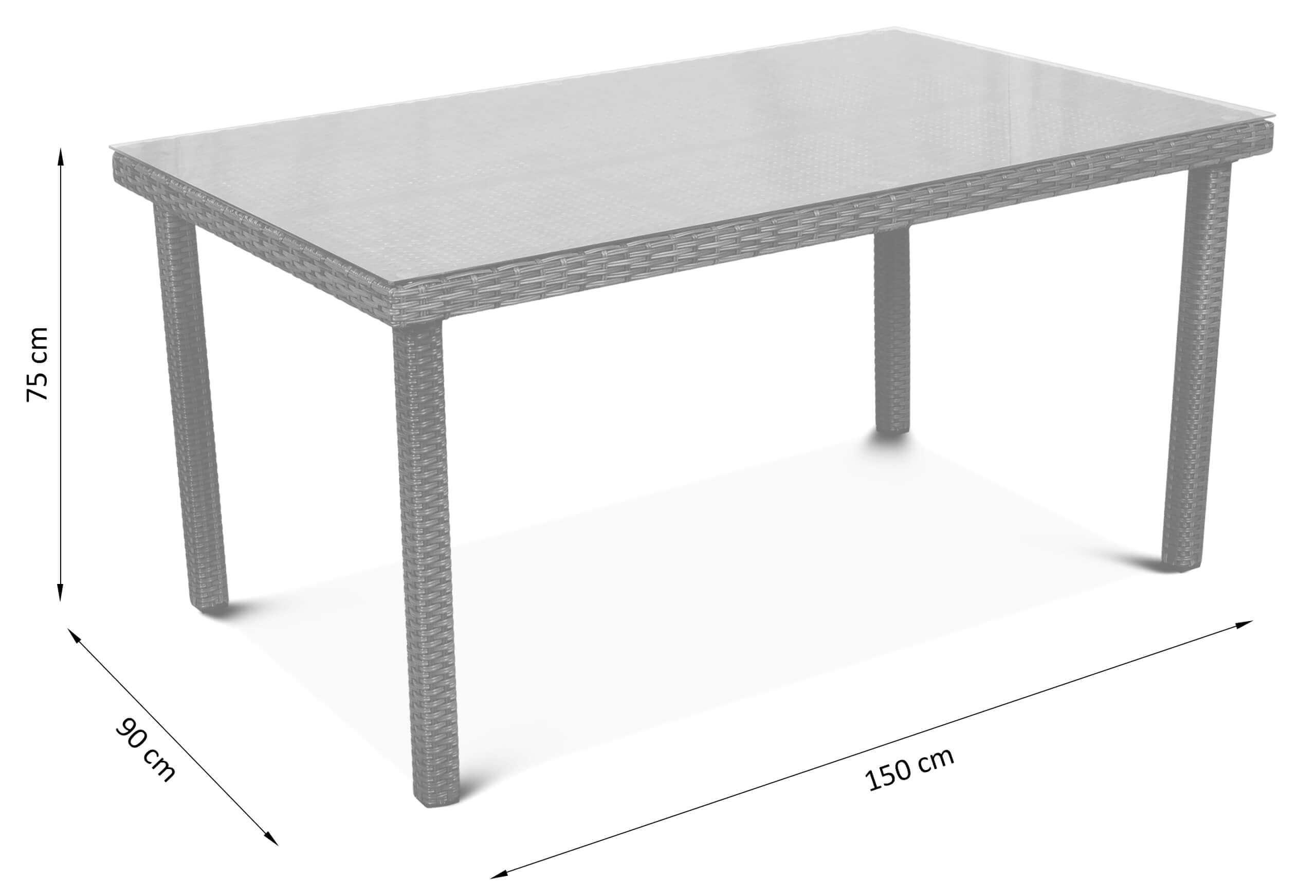 Wymiary stołu z technorattanu Hamilton